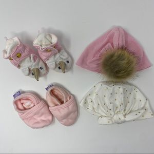 Baby Girl Pink Accessory & Slippers 4 Item Bundle